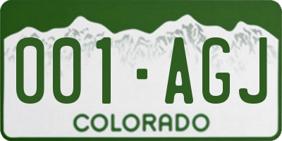 CO license plate 001AGJ