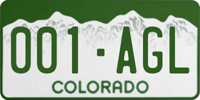 CO license plate 001AGL