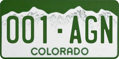 CO license plate 001AGN