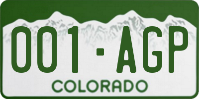 CO license plate 001AGP