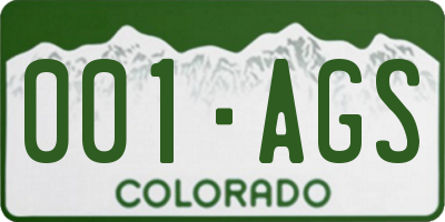 CO license plate 001AGS