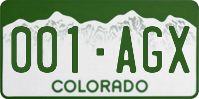 CO license plate 001AGX