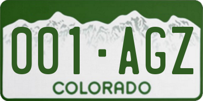 CO license plate 001AGZ