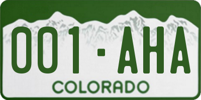 CO license plate 001AHA