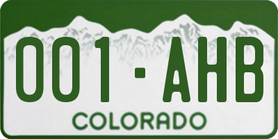 CO license plate 001AHB