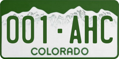 CO license plate 001AHC