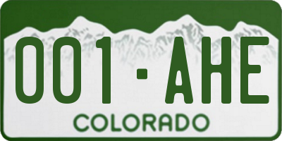 CO license plate 001AHE
