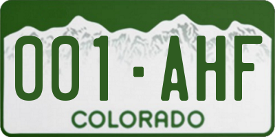 CO license plate 001AHF