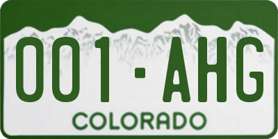 CO license plate 001AHG
