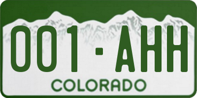 CO license plate 001AHH