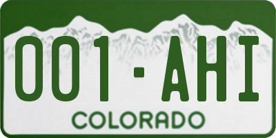 CO license plate 001AHI