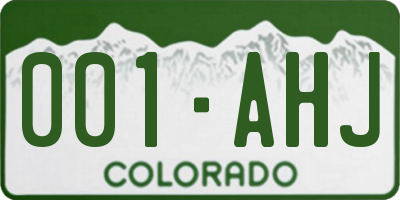 CO license plate 001AHJ