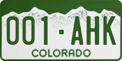 CO license plate 001AHK