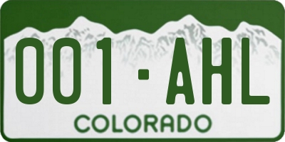 CO license plate 001AHL