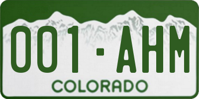 CO license plate 001AHM