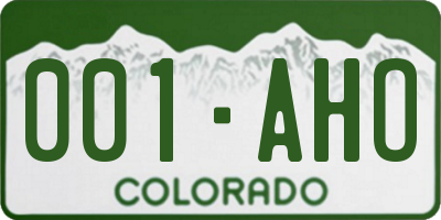 CO license plate 001AHO