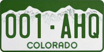 CO license plate 001AHQ