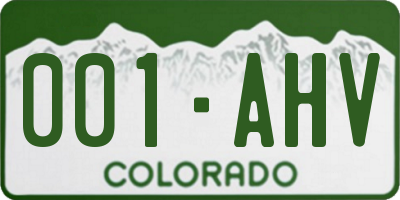 CO license plate 001AHV