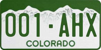 CO license plate 001AHX