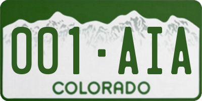 CO license plate 001AIA