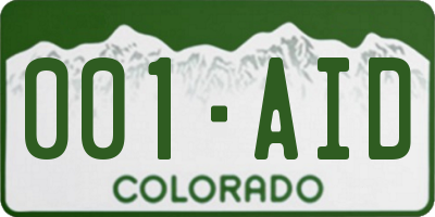CO license plate 001AID