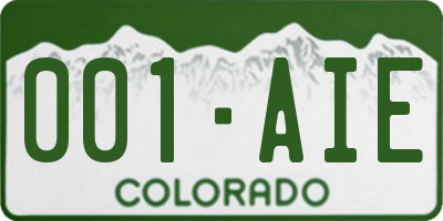 CO license plate 001AIE