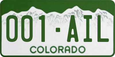 CO license plate 001AIL
