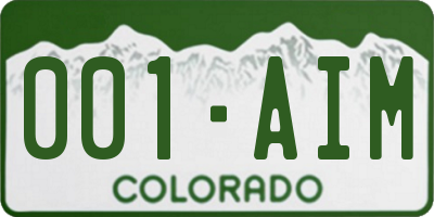CO license plate 001AIM