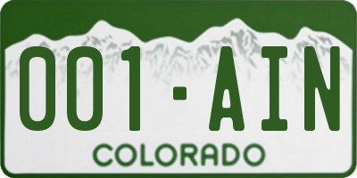 CO license plate 001AIN