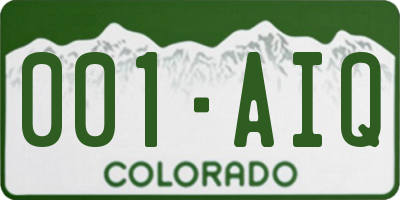 CO license plate 001AIQ