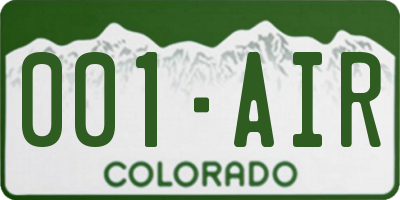 CO license plate 001AIR