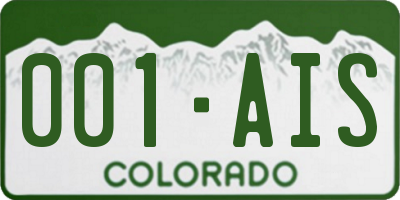 CO license plate 001AIS