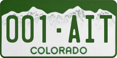 CO license plate 001AIT