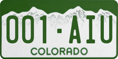 CO license plate 001AIU