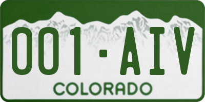CO license plate 001AIV