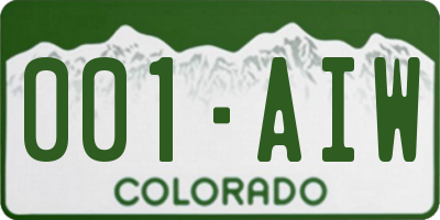 CO license plate 001AIW