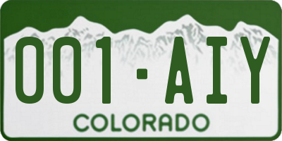 CO license plate 001AIY