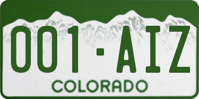 CO license plate 001AIZ