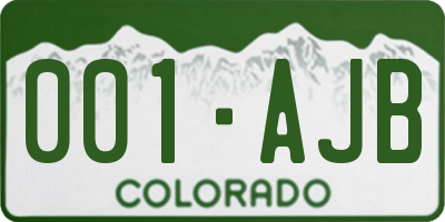 CO license plate 001AJB