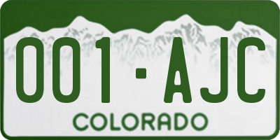 CO license plate 001AJC
