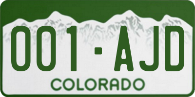 CO license plate 001AJD