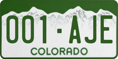 CO license plate 001AJE