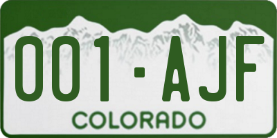CO license plate 001AJF