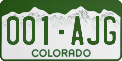 CO license plate 001AJG