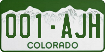 CO license plate 001AJH