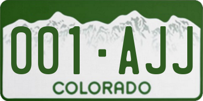 CO license plate 001AJJ