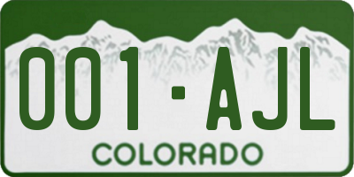 CO license plate 001AJL