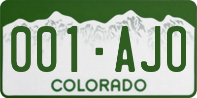 CO license plate 001AJO