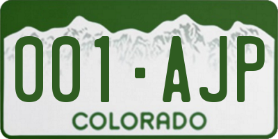 CO license plate 001AJP