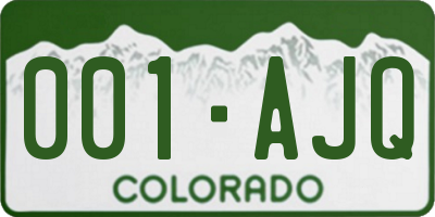 CO license plate 001AJQ